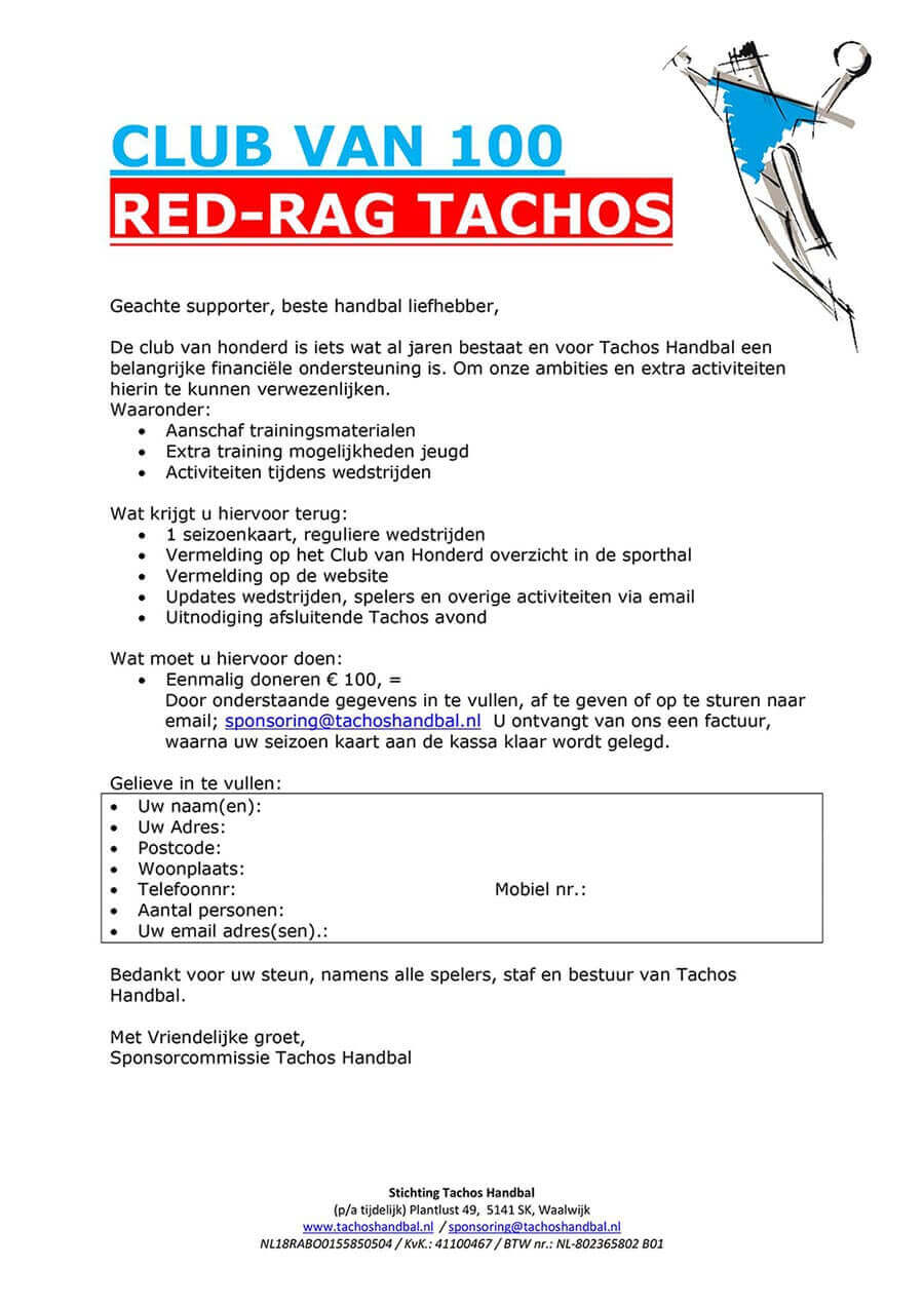 Club van 100 » Red Rag Tachos Handbal